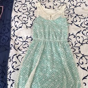 teal floral lace dress
